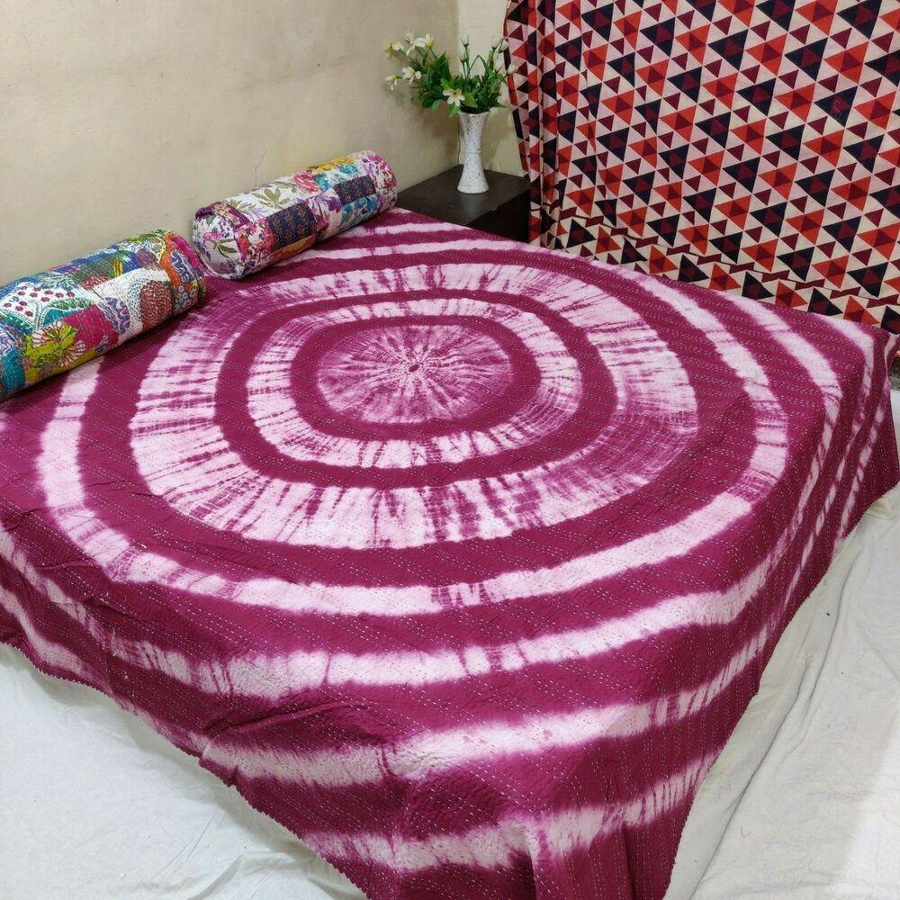 Beautifull Handmade Organic Tye Dye Kantha quilt Indian