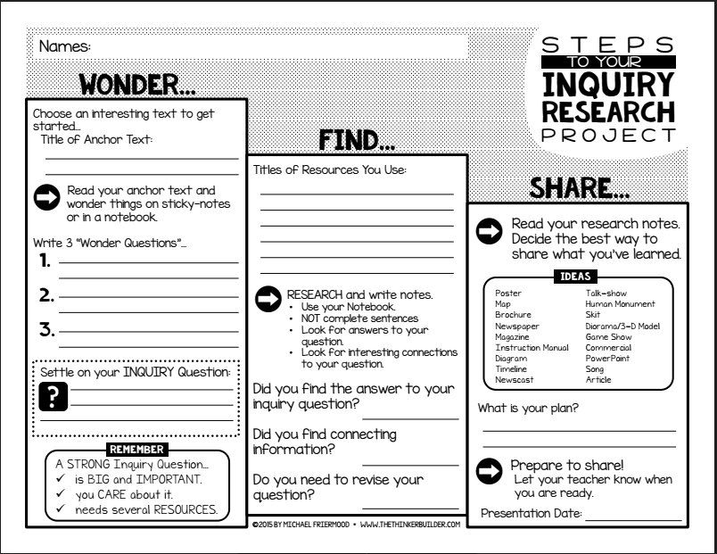 INQUIRY STEPS: A Student Guide To an Inquiry Research