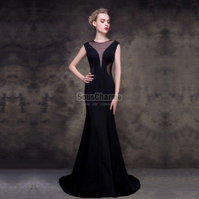 eaff97963859 robe de soiree noir sirène en satin longue col V profond transparent dos nu  avec traîne