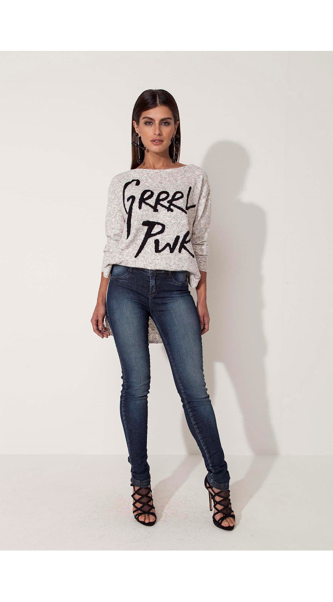 Blusa Tricot Abertura Lateral GIRL POWER