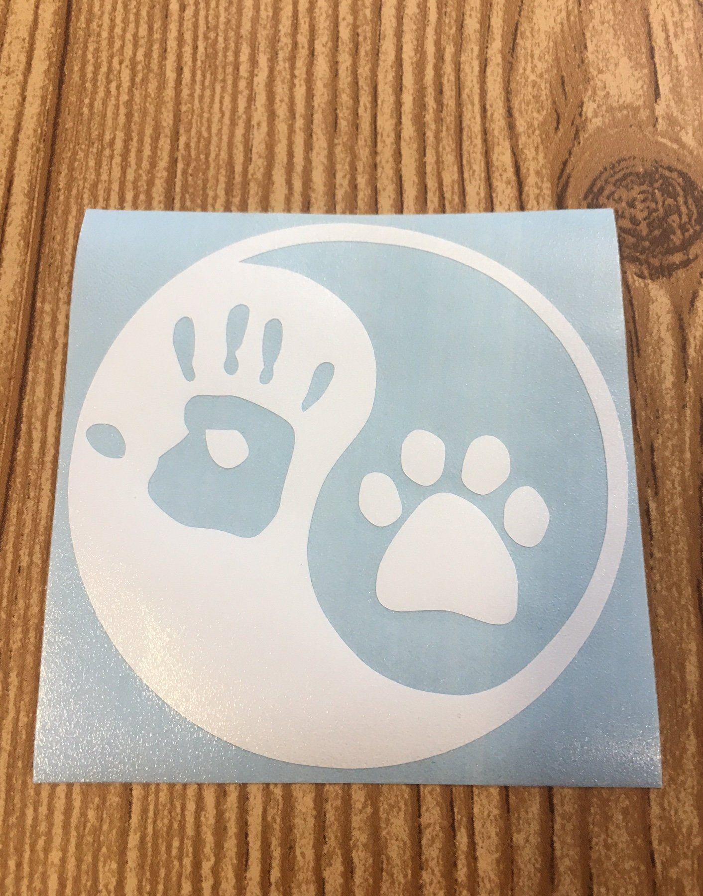 Yin and yang hand print paw print vinyl decal sticker car decal yeti sticker water bottle sticker laptop sticker gift idea