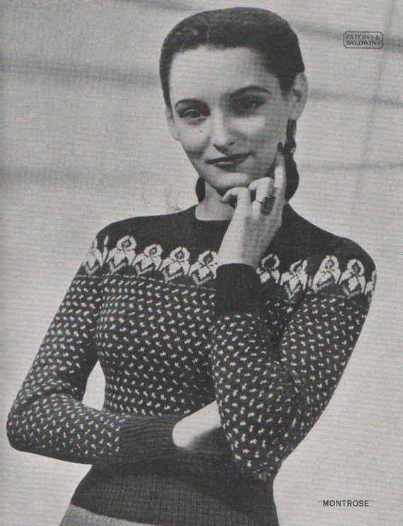 Vintage Fair Isle Knitting Pattern Book circa 1940's | Book, Fair ...