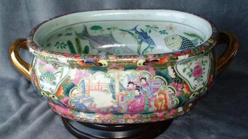 Antique Chinese scenes Rose Medallion porcelain fish bowls footbath ...