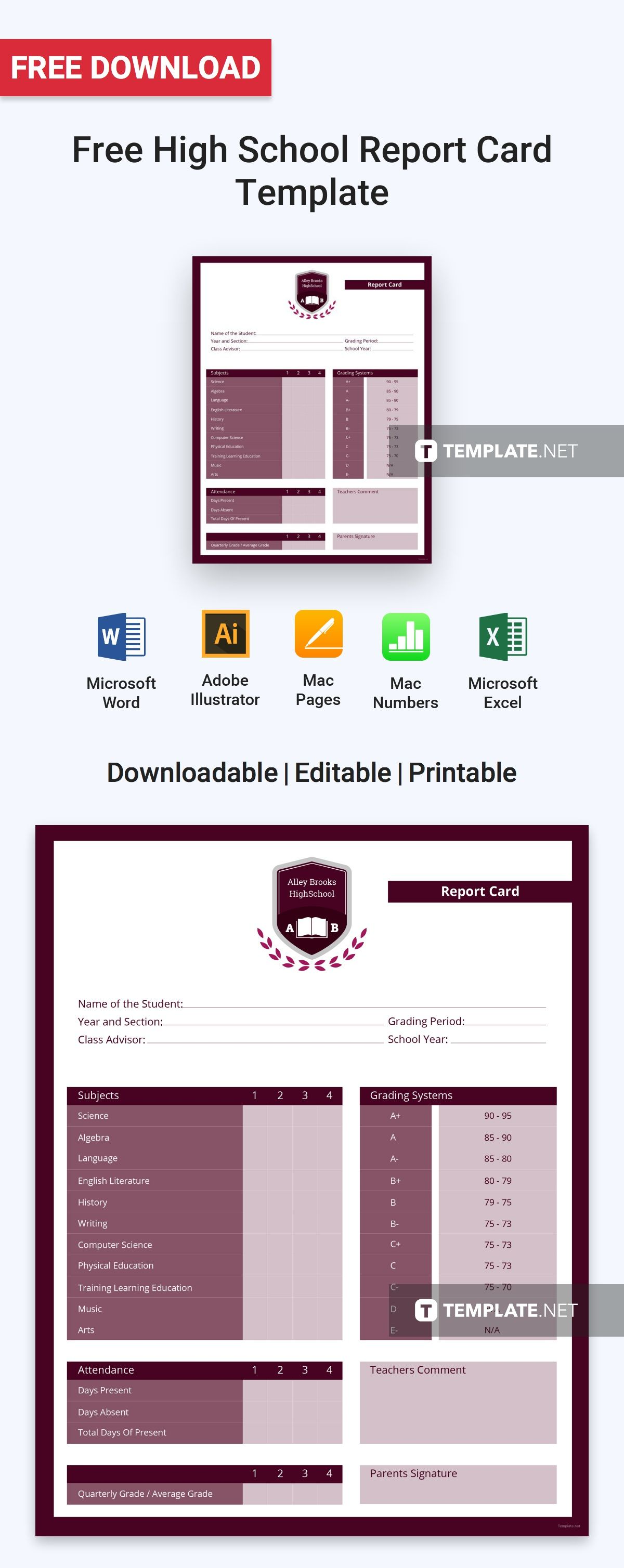 Simple High School Report Card Template Pdf Word Excel Apple Pages Illustrator Apple Numbers School Report Card Report Card Template Report Card