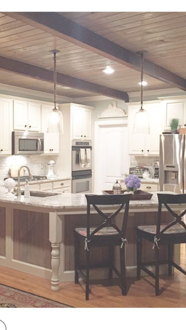 My New Wooden Ceiling With Cedar Beams In My Kitchen Home Kitchens Country Kitchen Home Remodeling