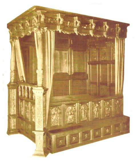 Richly carved corner bed with wood tester canopy and curtains  sc 1 st  Pinterest & Richly carved corner bed with wood tester canopy and curtains ...