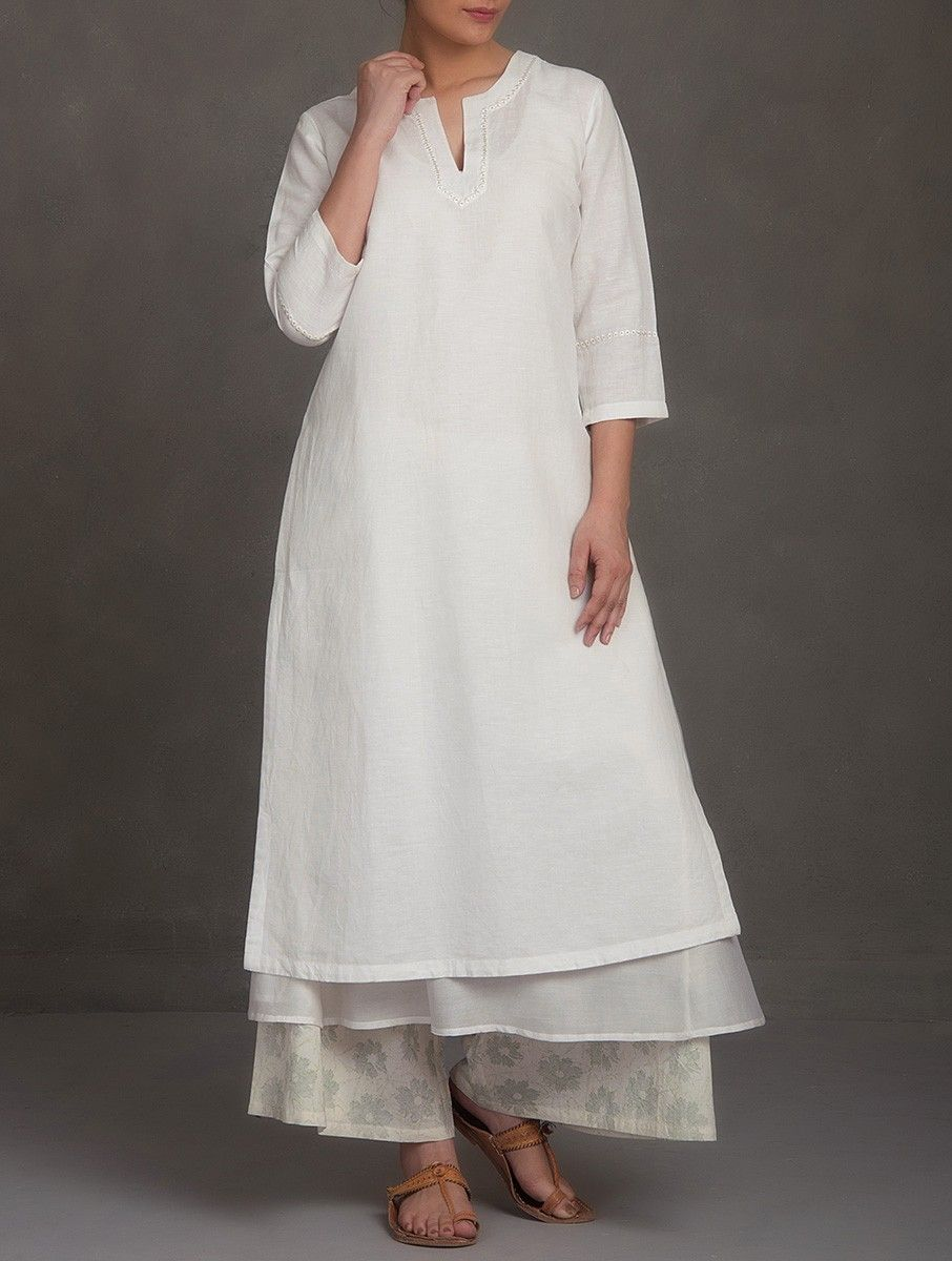 0c8516c5abf Buy White Embroidered V Neck Cotton Linen Chanderi Kurta Women Kurtas  Saumya   Printed Apparel in More Online at Jaypore.com