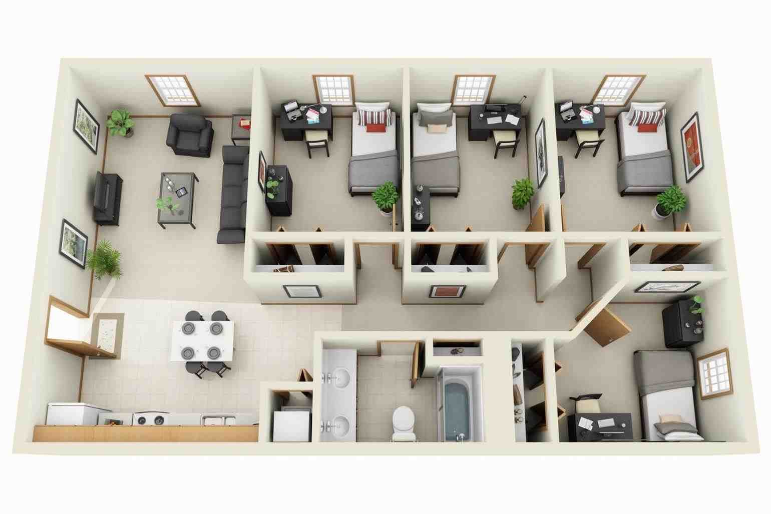 luxury apartment plans 3d - contemporary 3d floor plans ...