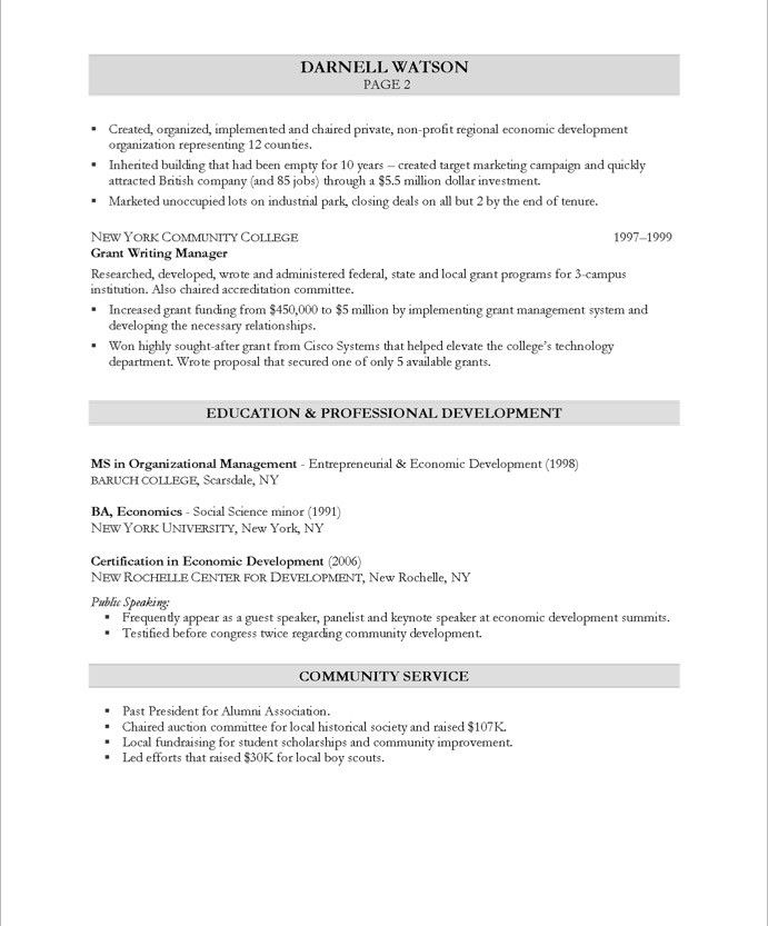 Community Development Executive-Page2 Non Profit Resume Samples - fitting room attendant sample resume