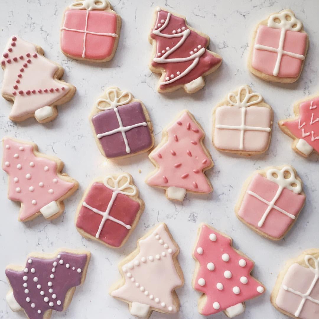 Pink Christmas Cookies Merry Christmas Cookies Paint Cookies