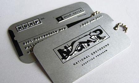 Greyhouse adoption program business cards - dog tag style