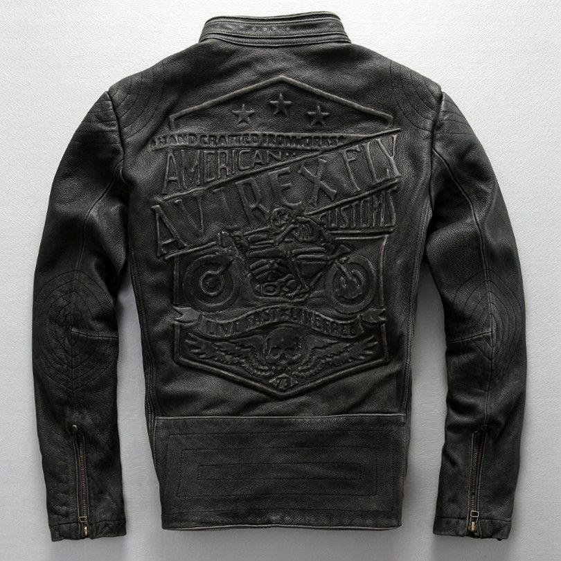 avirex fly pattern genuine leather jacket men harley style