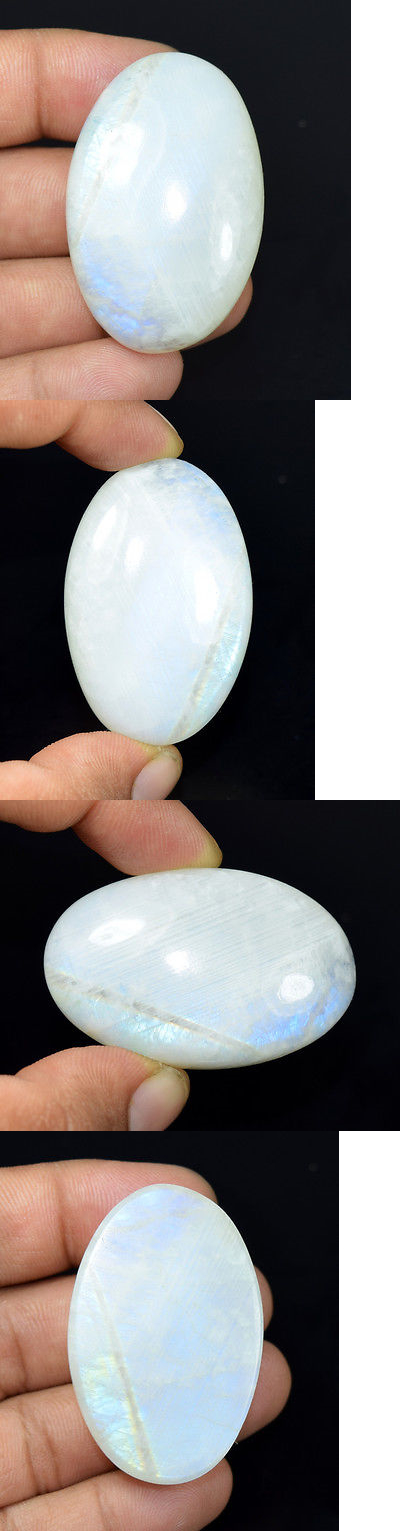 Moonstone 10237: Wonderful 162.05 Cts. 100% Natural Rainbow Moonstone ( 48 * 31.5 ) Loose Gems BUY IT NOW ONLY: $55.0