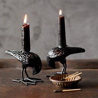 Halloween Raven Tiny Taper Holders, Set of 2 #williamssonoma