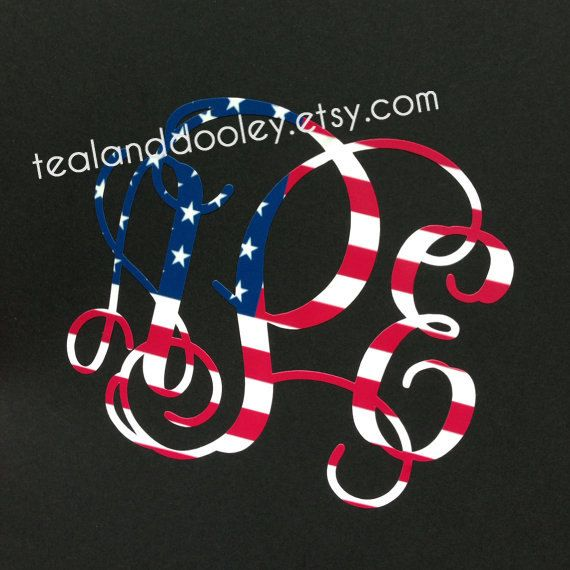 American flag monogram decal sticker by tealanddooley on etsy