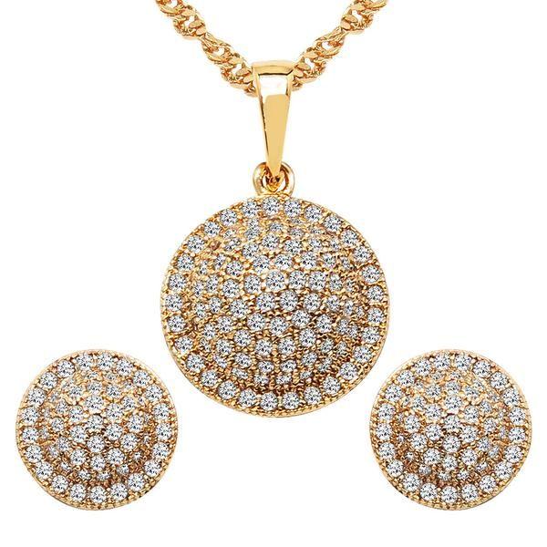 CZ Studded Brass Pendant, Earrings Set with Chain #photooftheday #gifts #mehandi #indiandance #trendingjewelry
