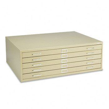 Five-Drawer Steel Flat File, 46-3/8w x 35-3/8d x 16-1/2h, Tropic Sand by Safco. $2178.95. Positive closure keeps drawers tightly shut while courtesy stops keep them in place when in an open position. Full-suspension drawers have rear hood and hinged front depressors that prevent sheets from curling. Side-roller assembly with case-hardened ball-bearing rollers for smooth, quiet operation of drawers. Top Material: N/A; Top Thickness: N/A; Shelf Type: N/A; Anti-Tip Mechanism: N/A.