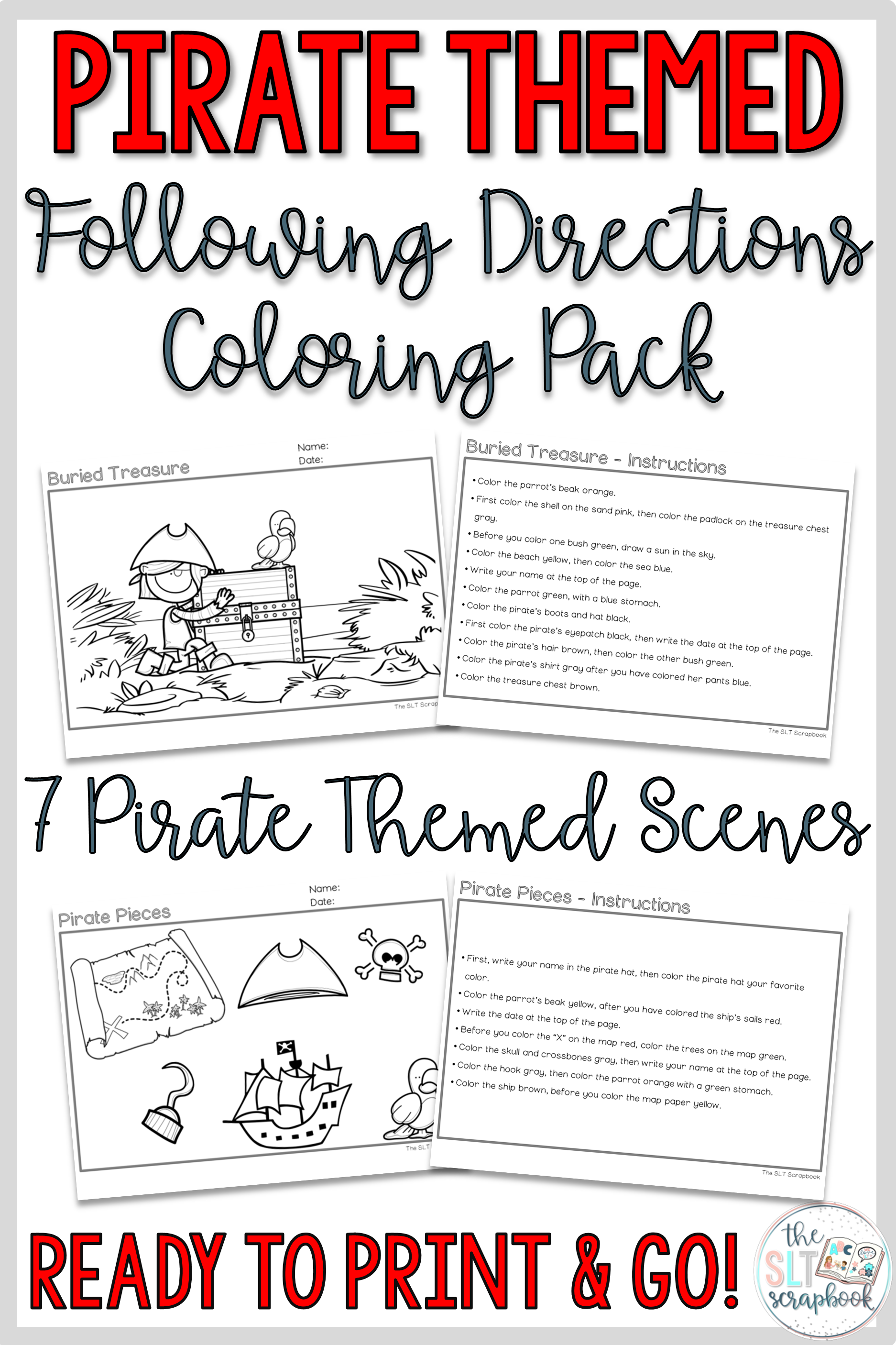 Pirate Themed Following Directions Coloring Pack No Prep Slp