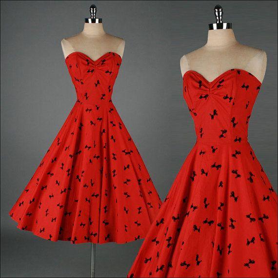 Vintage 1950s Dress Red Flocked Poodles Cocktail Dress