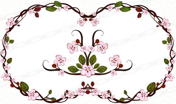 instant download 300dpi png frames bloom clip art borders signs rh pinterest com  free cherry blossom clip art borders