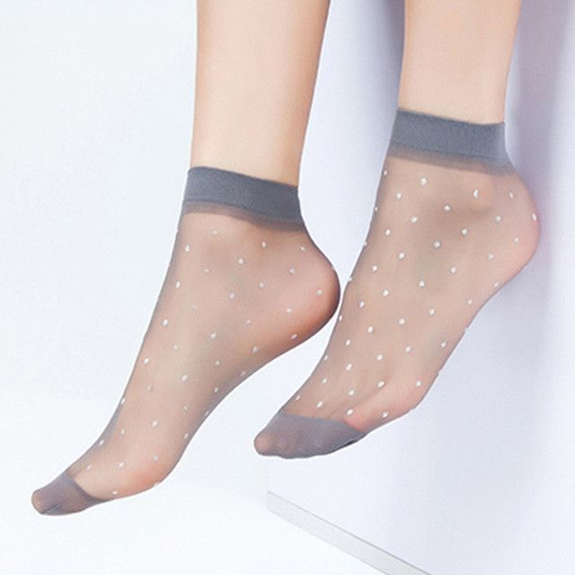 10Pairs Transparent Casual Elastic Cotton Silky Summer Pure Color Socks