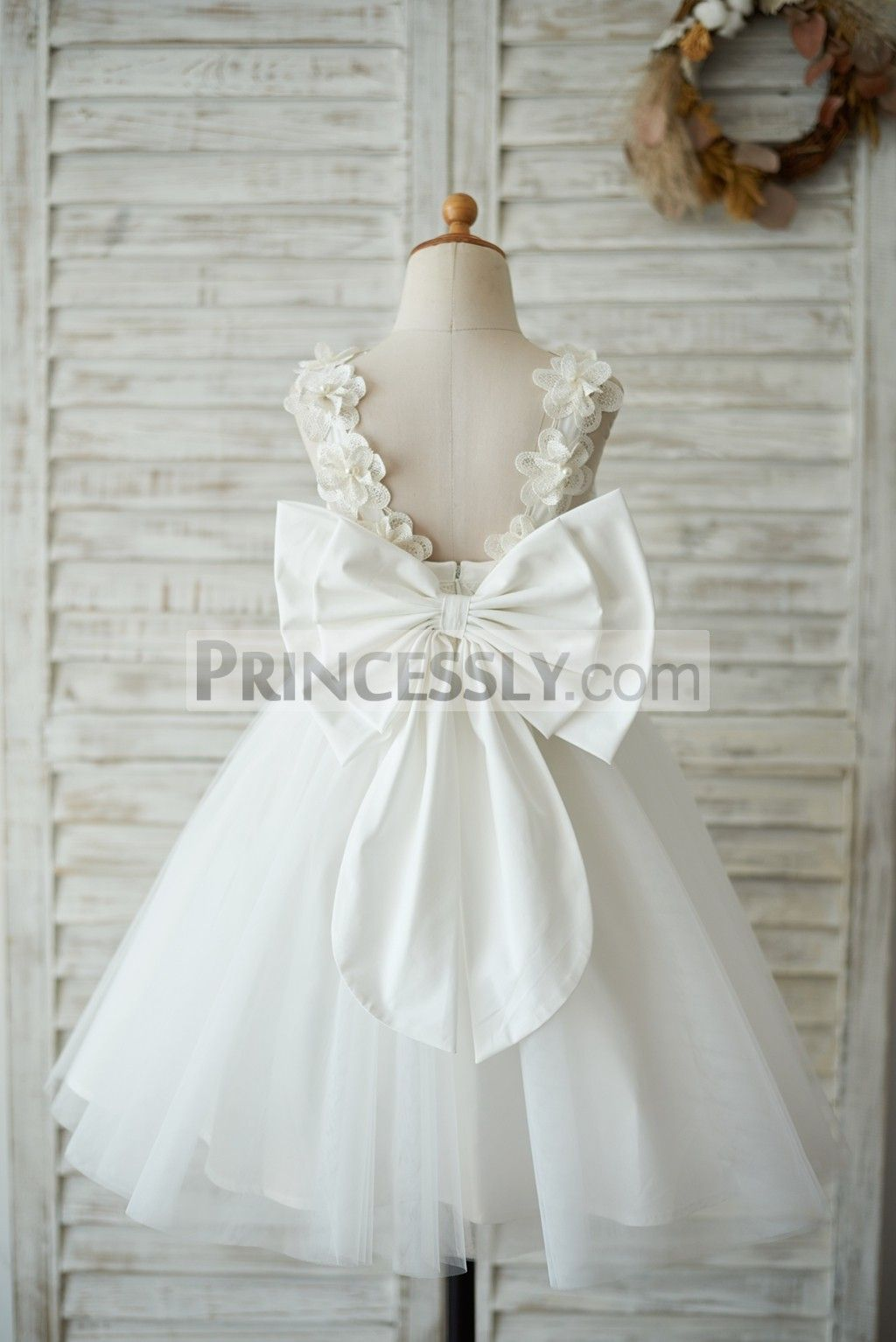 a46503aec0e8 Ivory Lace Tulle V Back Wedding Flower Girl Dress with Big Bow