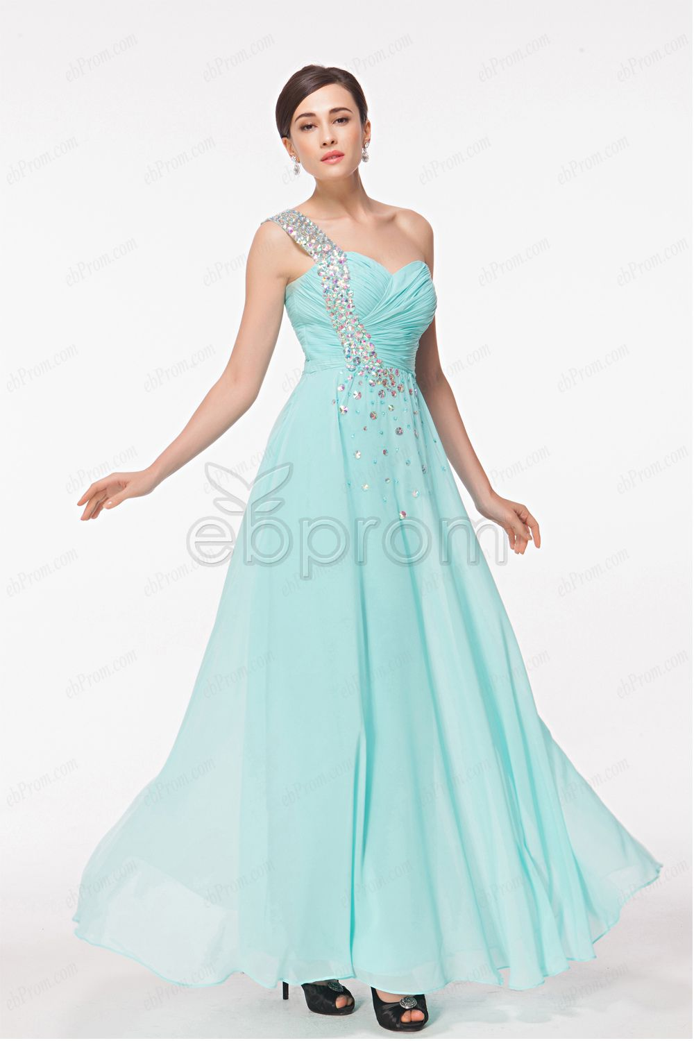 Light blue crystal sparkly prom dresses long | Sparkly prom ...