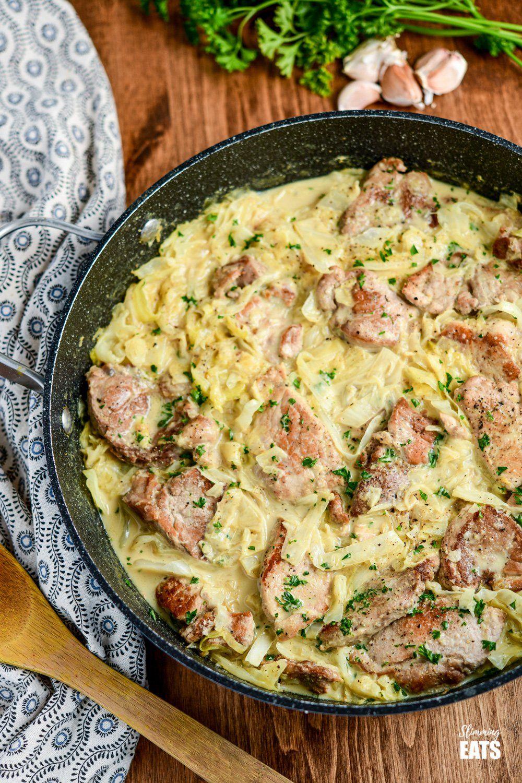 Creamy Garlic Pork with Cabbage | Slimming Eats