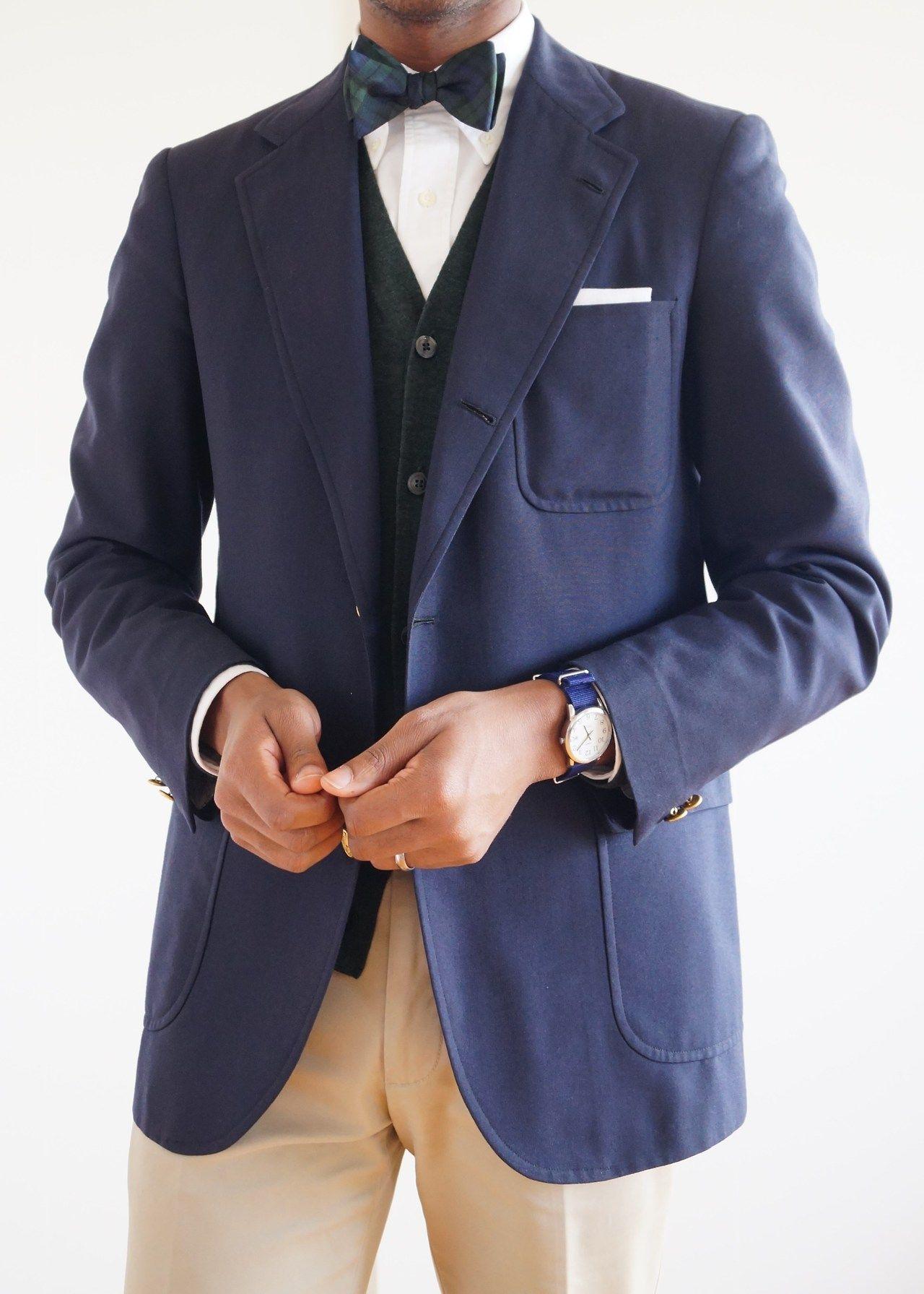 Navy sport coat, white shirt, Black Watch bow tie, khakis