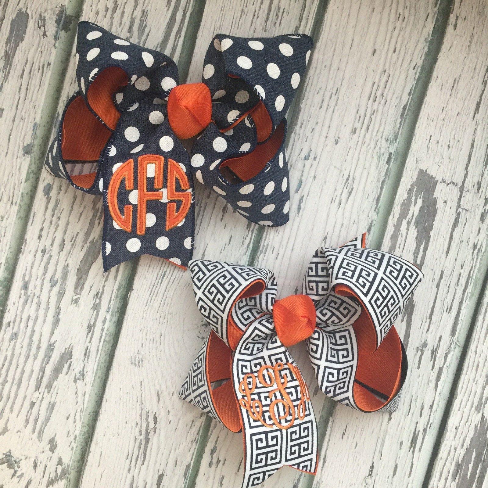 Navy and Orange Hair Bows for Girls, Houston Astros Hair
