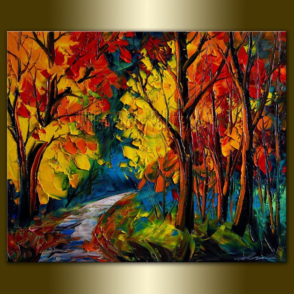 Original Landscape Painting Oil On Canvas Textured Palette Knife Contemporary Modern Tree Art Seasons 20x24 Tree Art Landscape Paintings Oil Painting Landscape