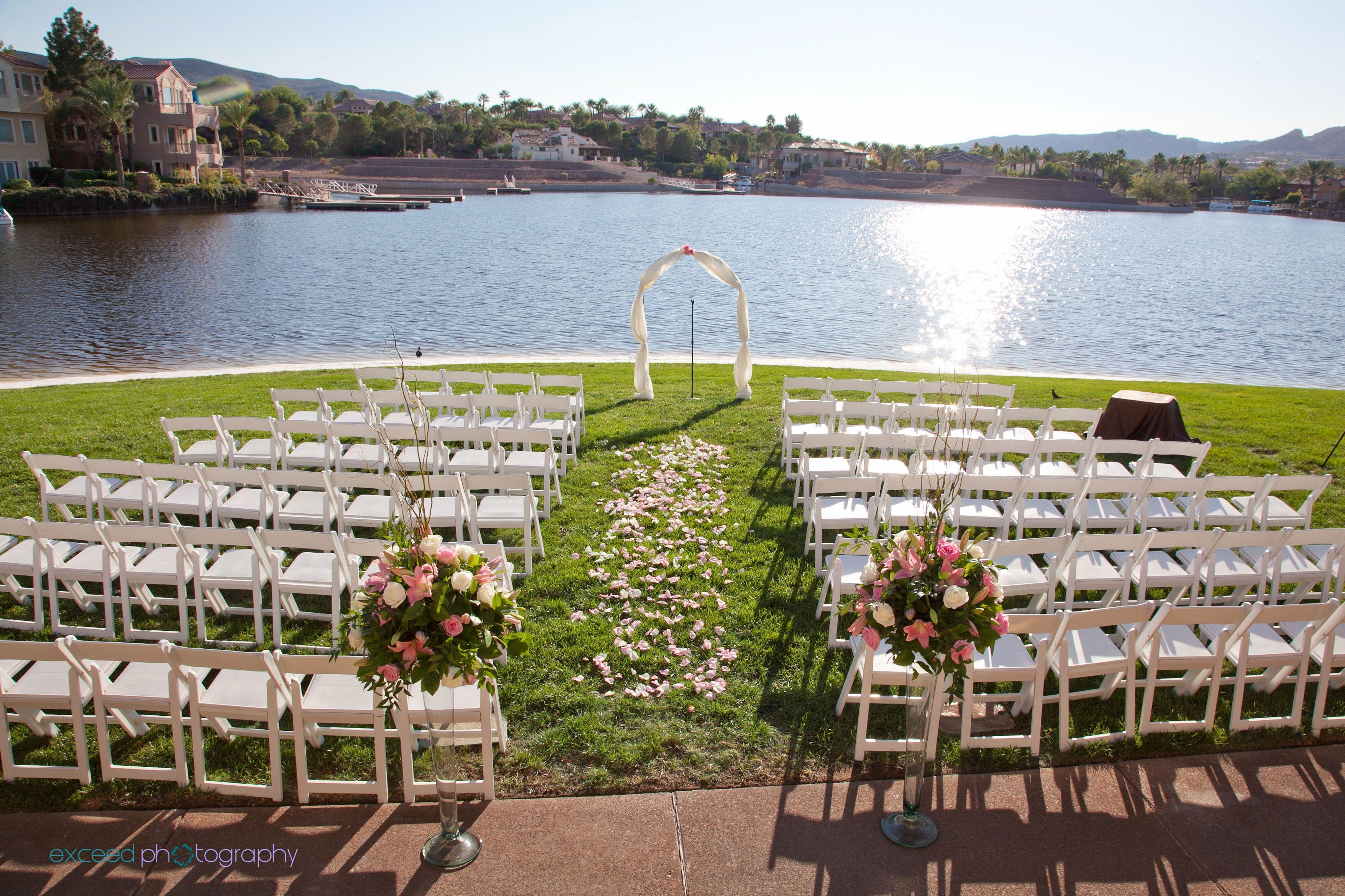 Cermony at the lake club wedding sand lakeside wedding