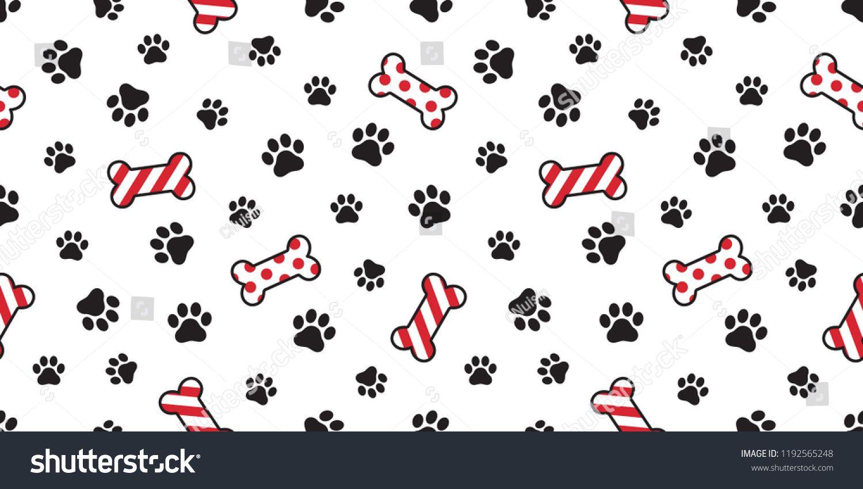 Dog paw seamless pattern vector Christmas Santa Claus Xmas dog bone