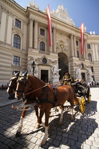 Horse and carriage outside Hofburg Palace, Vienna.