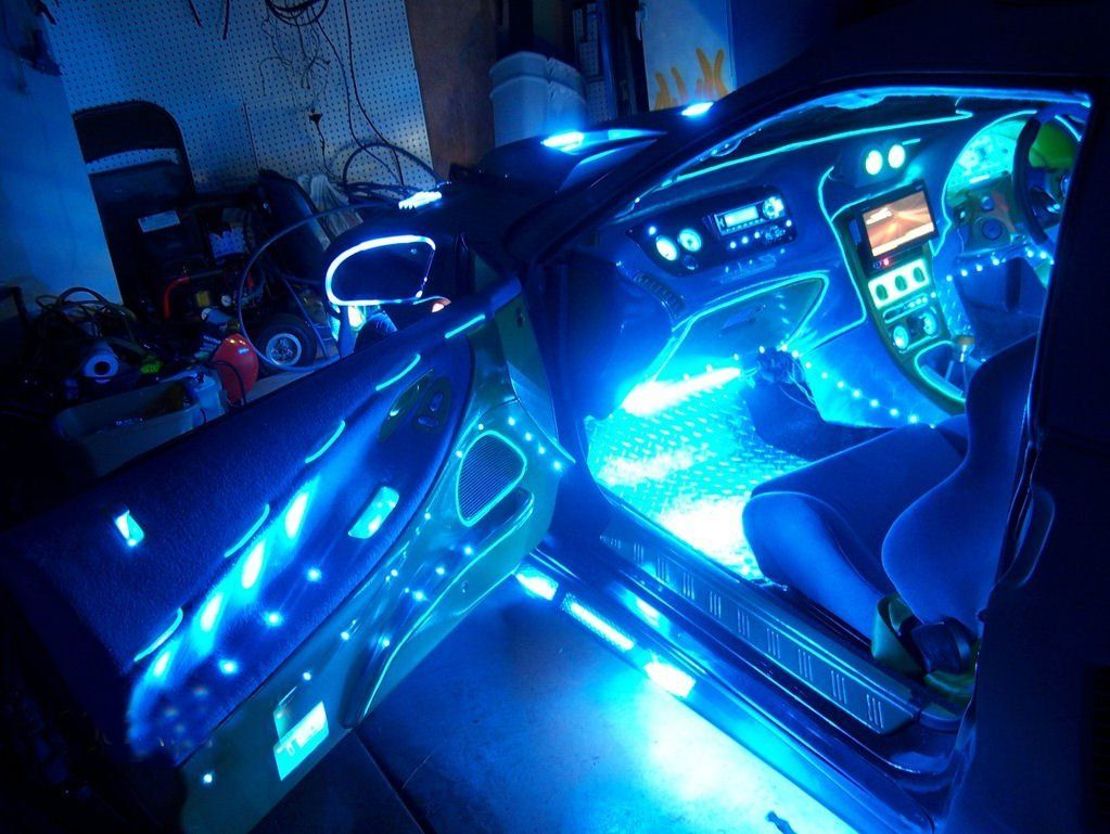 Blue 12 Car Interior Neon Lights Two 2 12 Inch 30cm Cold