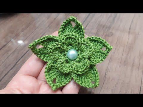 3D tığ işi örgü çiçek nasıl yapılır / örgü çiçek modelleri - YouTube #crochetbraids