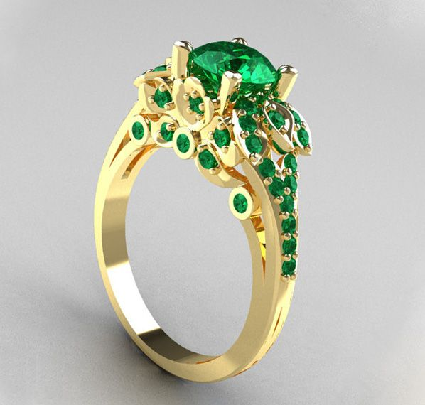 Emerald Solitaire diamond ring