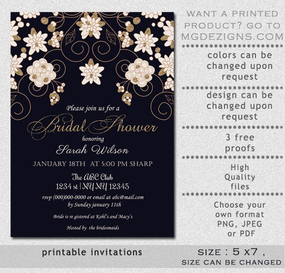 Printable Bridal Shower Invitation Template Modern By Mgdezigns