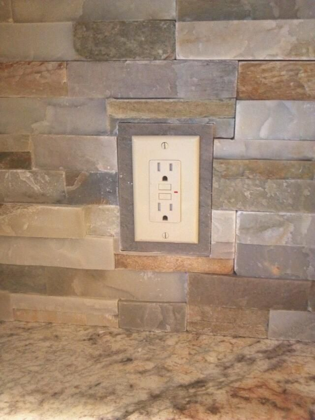 My solution for outlet covers, when using irregular stone ...
