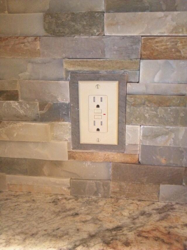 Kitchen Backsplash Outlets : kitchen, backsplash, outlets, Solution, Outlet, Covers,, Using, Irregular, Stone, Backsplash,, House, Design,, Salas, Living