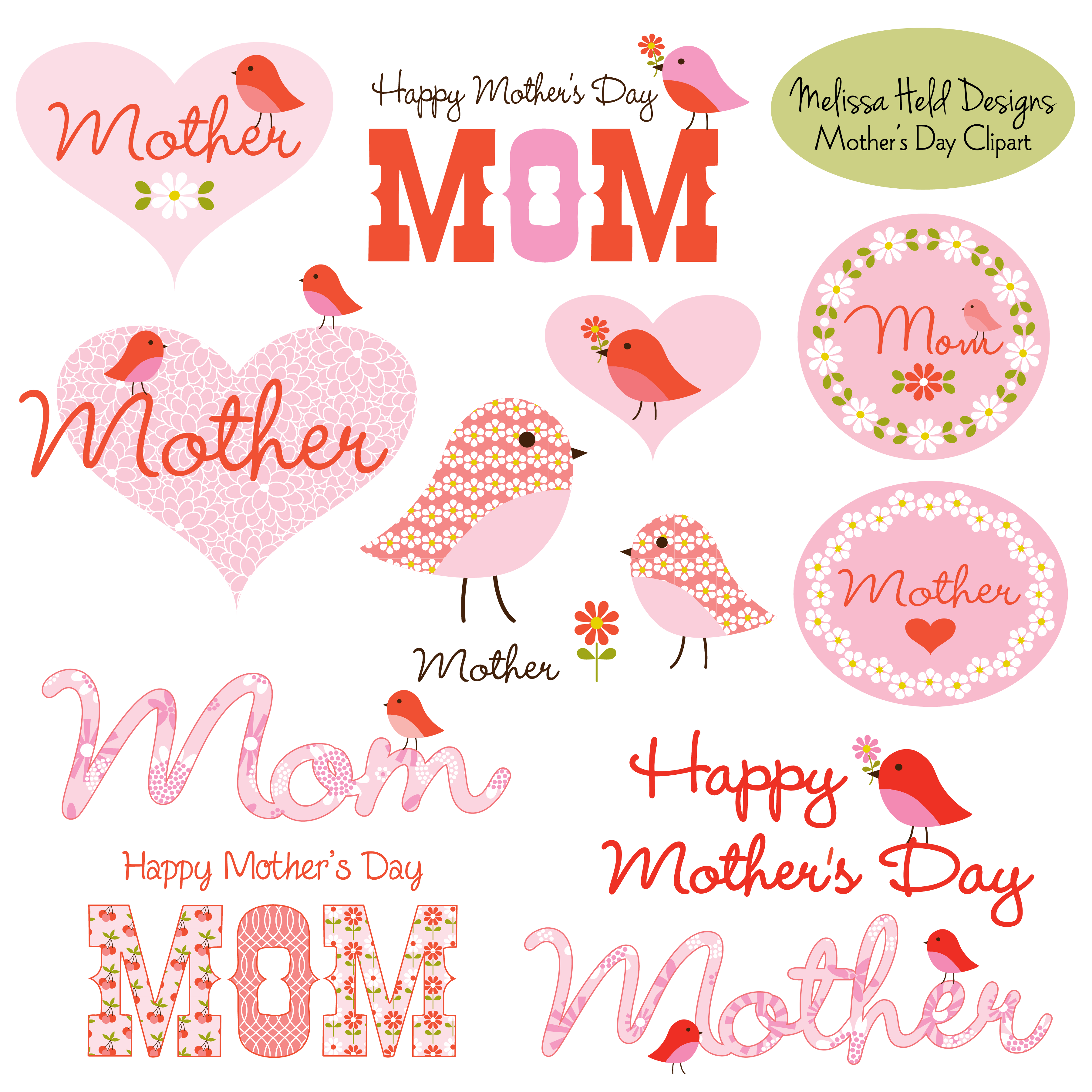 Mother S Day Clipart With Cute Birds Mother S Day Greeting Cards Happy Mother Day Quotes Clip Art