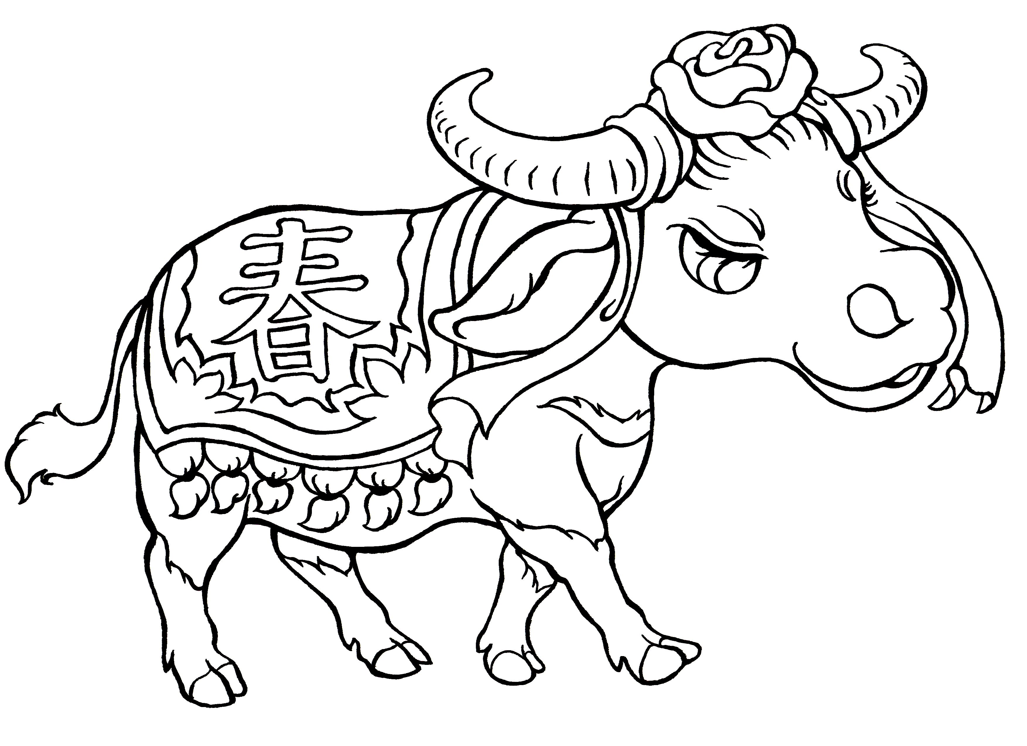 Year Of The Ox Free Colouring Sheet For Children From Snowflake