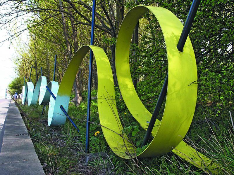 The Ribbon Railings form a colourful boundary along Askew ...