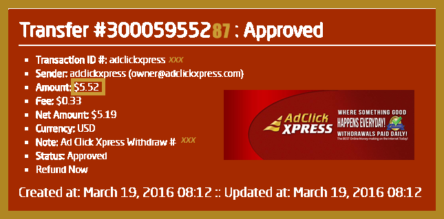 Join me in this great business opportunity because good things happens every day at Ad Click Xpress! I am getting paid daily at ACX and here is proof of my latest withdrawal. This is not a scam and I love making money online with Ad Click Xpress. Online income is possible with ACX, who is definitely paying - no scam here. Thank You ACX!