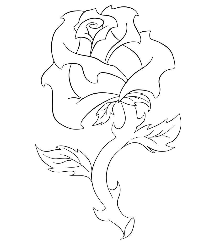 Line Art Rose Flower : Line art rose by hazeljohnson on deviantart