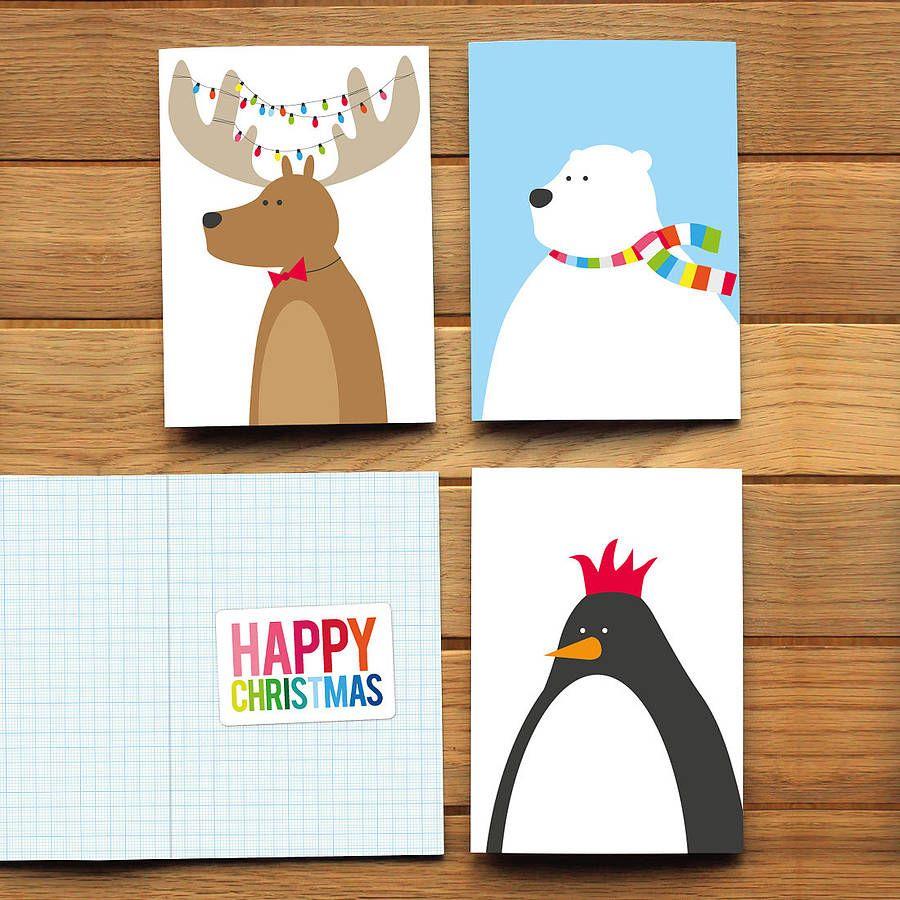 Showy Festive Animal Card Packs Pack Six Festive Animal Cards Cards Cards Ideas Diy Cards Ideas 2016 ideas Christmas Cards Ideas