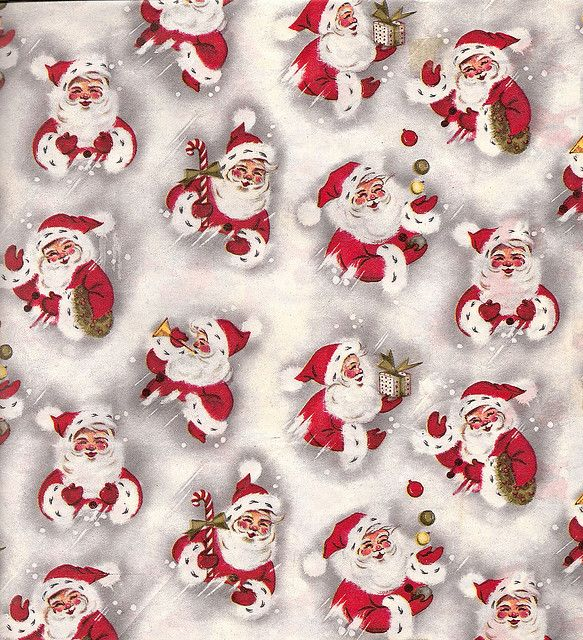 Vintage Christmas Wrapping Paper With Santas Vintage Christmas Wrapping Paper Christmas Ephemera Christmas Wrapping