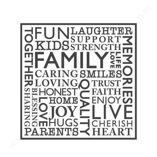 wall quotes wall decals - FAMILY Word Collage