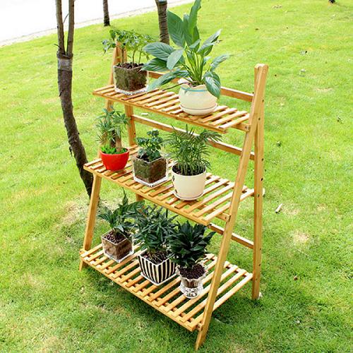 Multi Tier Flower Plant Shelf Bamboo Long Plant Stand Table Foldable Flower Rack