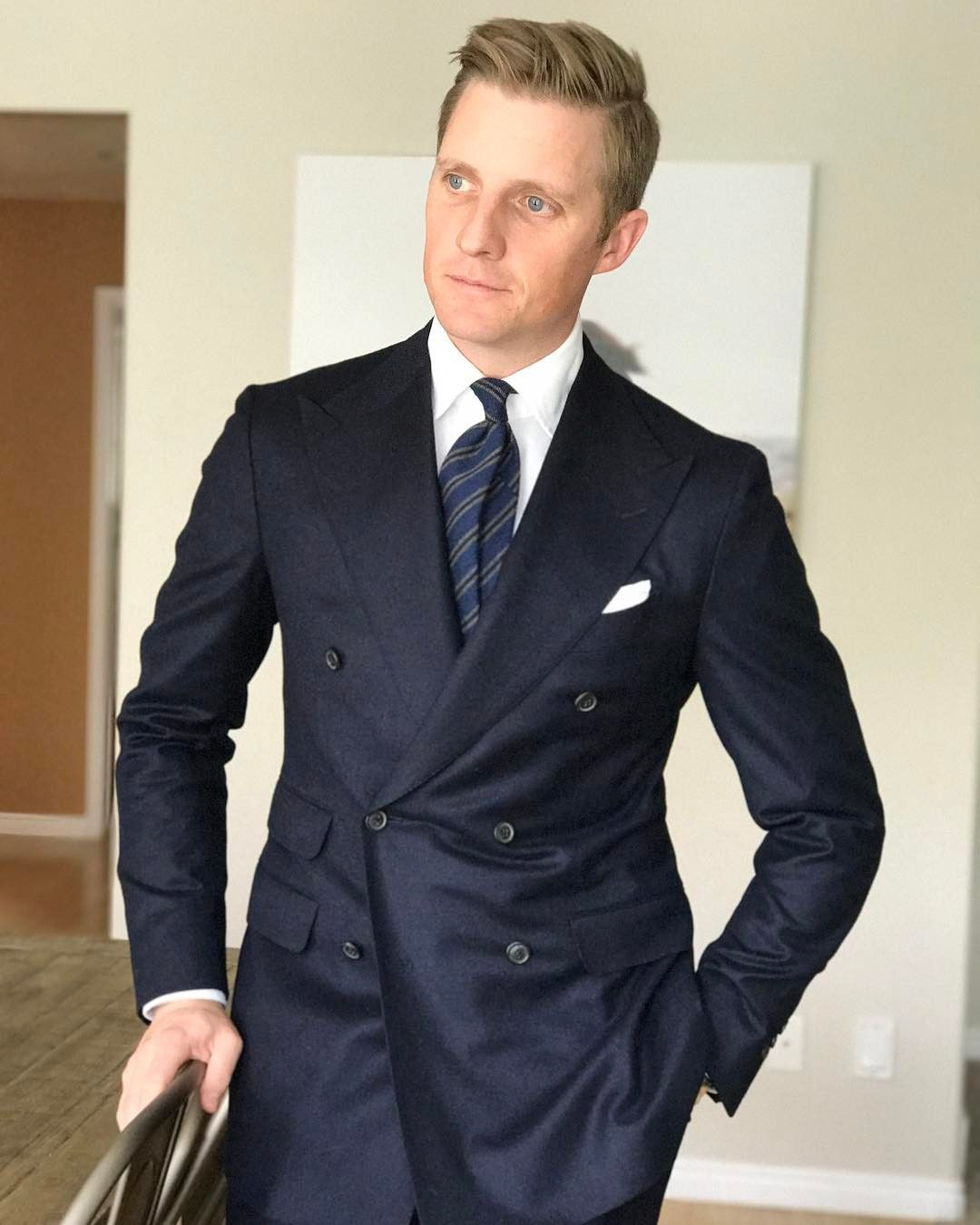 Mr. Derek Bleazard Navy duoble breasted flannel suit with cloth ...